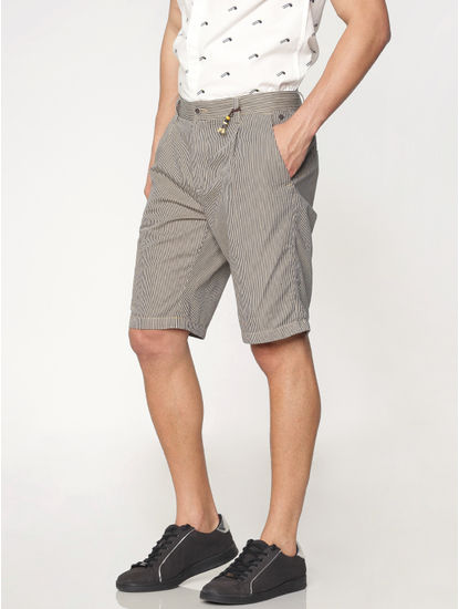 Brown Striped Over Dyed Chino Shorts