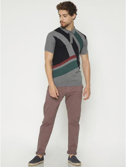 Grey Colour Blocked Polo Neck T-Shirt