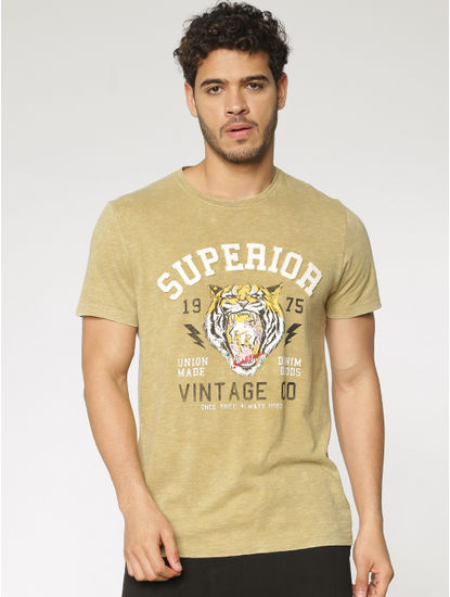 Brown Text and Graphic Print Washed Crew Neck T-shirt