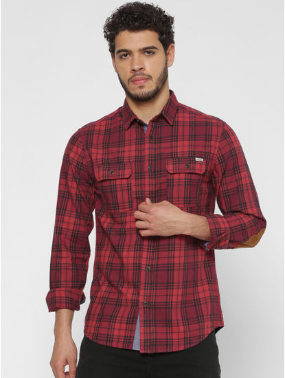 Red Checks Patch Pocket Slim Fit Full Sleeves Shirt