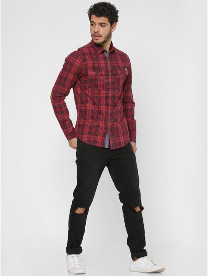 Red Checks Patch Pocket Slim Fit Full Sleeves Shirt