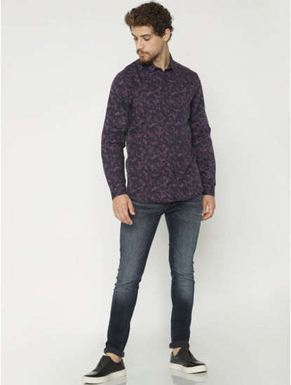 Purple All Over Print Full Sleeves Shirt