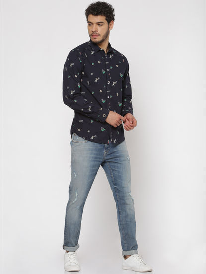 Navy Blue All Over Graphic Print Slim Fit Full Sleeves Shirt