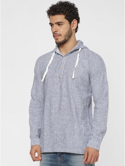Blue Striped Hooded Slim Fit Full Sleeves Shirt