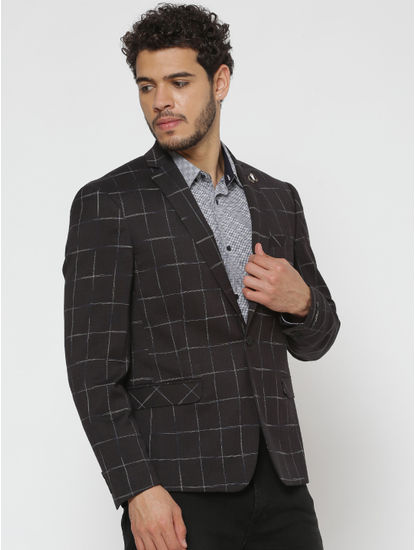 Black Checks Double Button Slim Fit Blazer