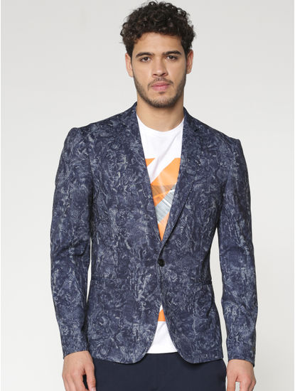 Blue All Over Brushed Print Slim Fit Blazer