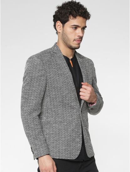 Black Textured Single Button Slim Fit Blazer