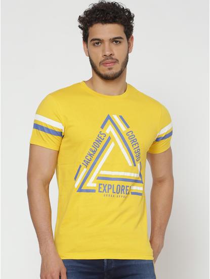 Yellow Typographic Print Slim Fit Crew Neck T-Shirt