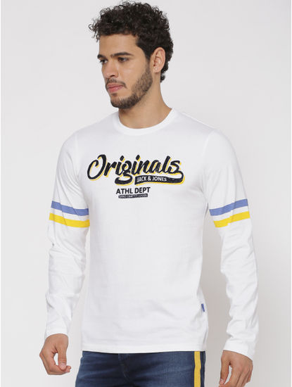 White Printed Chest and Sleeves Slim Fit Full Sleeves Crew Neck T-shirt