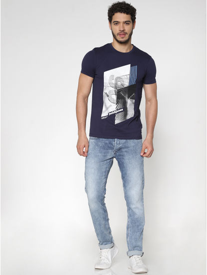 Blue Graphic Print Crew Neck T-Shirt