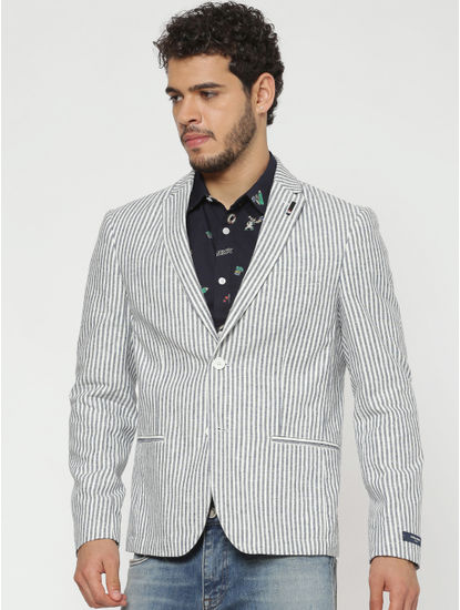 Grey And White Striped Double Button Slim Fit Blazer