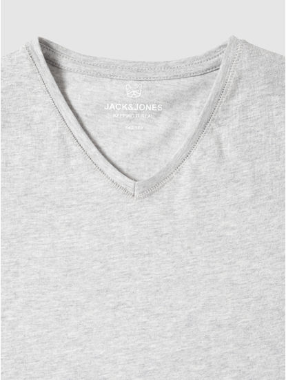 Junior Grey Slim Fit V Neck T-Shirt