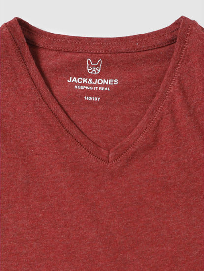 Junior Red Slim Fit V Neck T-Shirt