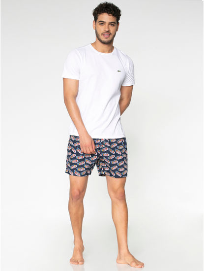 Navy Blue Yolo Text Print Boxers