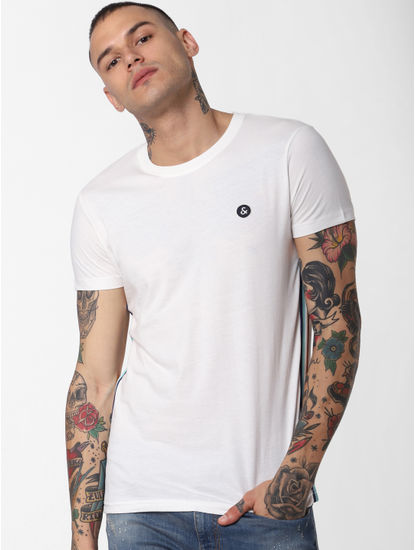 White Tape Detail Crew Neck T-shirt