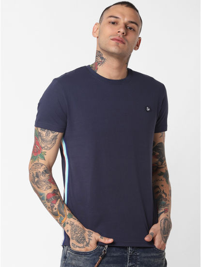 Blue Tape Detail Crew Neck T-shirt