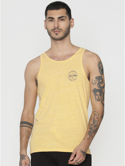 Yellow Logo Text Print Vest