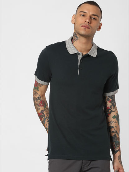Dark Green Contrast Tipping Polo Neck T-shirt