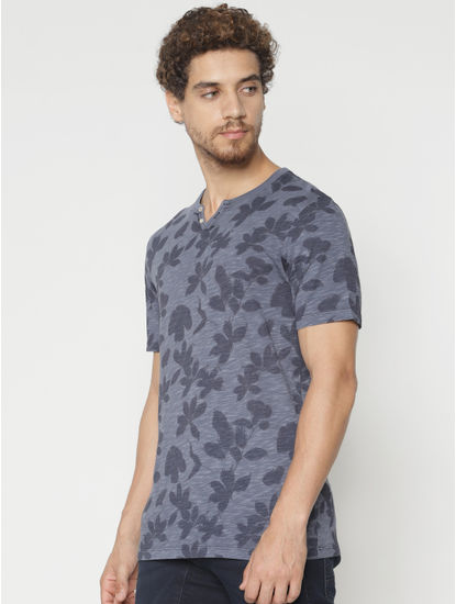 Blue All Over Print Split Neck T-Shirt