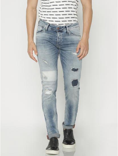 Blue Ripped Glenn Slim Fit Jeans