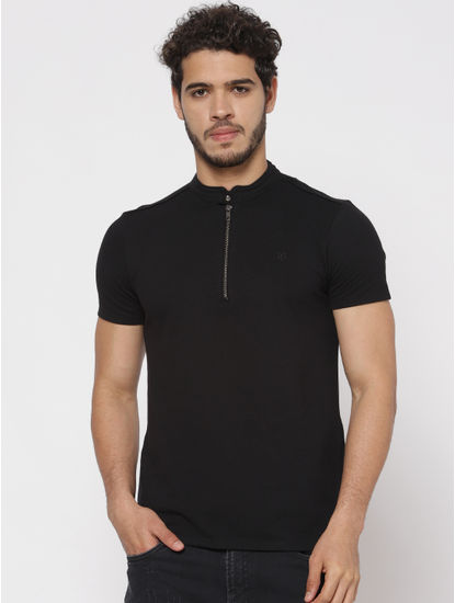 Black Polo Neck T-Shirt