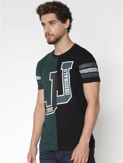 Green Colour Blocked Printed T-Shirt
