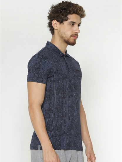 Blue Printed Polo Neck T-Shirt