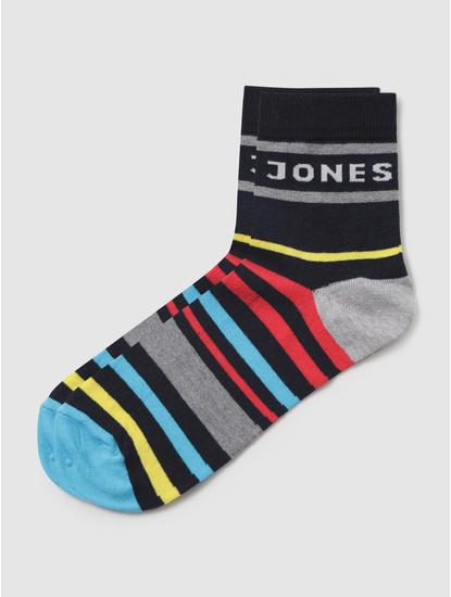 Black Multicoloured Striped Mid Calf Length Pack Of Three Socks