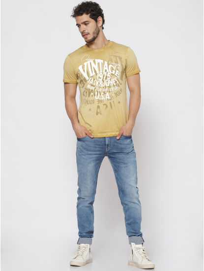 Brown Overdyed Printed T-shirt