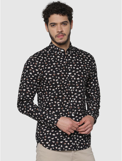 Black All Over Printed Full Sleeves Shirt