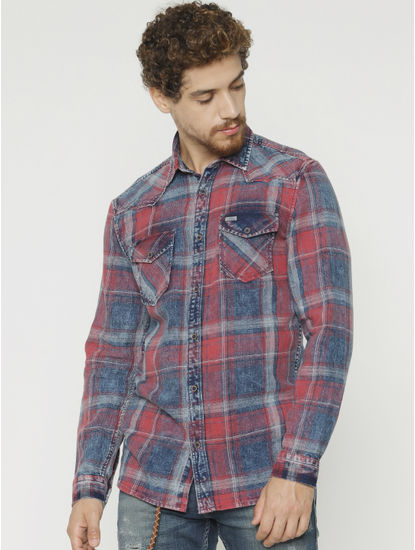 Red Checks Full Sleeves Shirt
