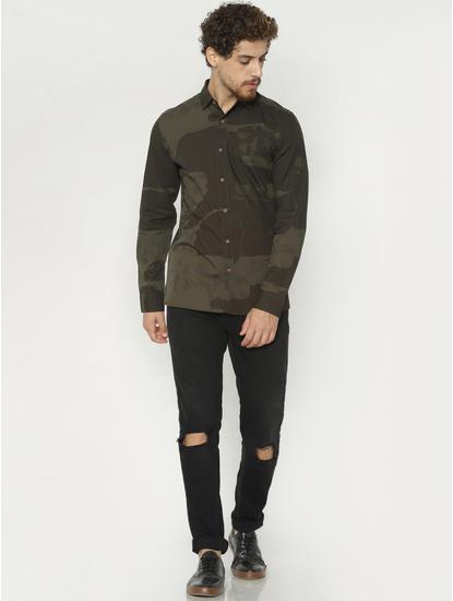 Green Camo Print Full Sleeves Shirt