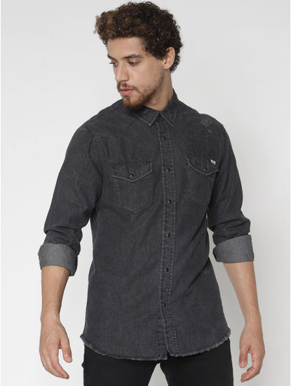 Black Denim Full Sleeves Shirt
