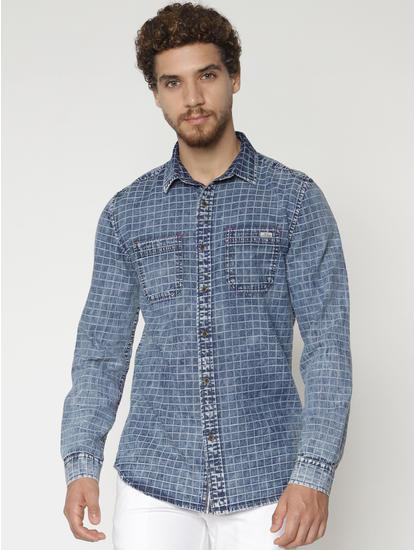 Blue Check Denim Full Sleeves Shirt