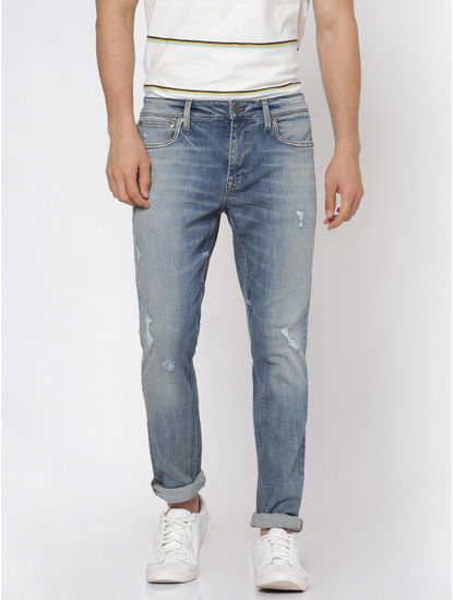 Light Blue Faded Distressed Liam Slim Fit Jeans