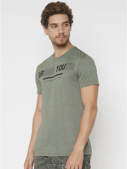 Green Text Print Crew Neck T-Shirt