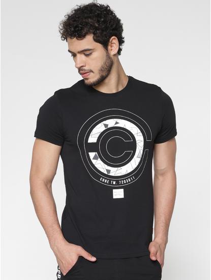 Black Printed Slim Fit Crew Neck T-Shirt
