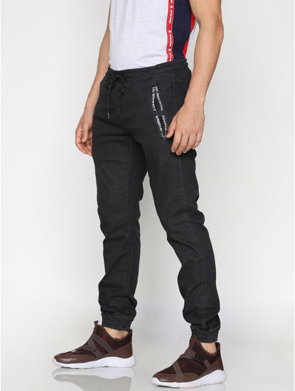 Black Drawstring Erik Anti Fit Jeans