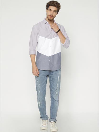 White Colour Blocked Slim Fit Full Sleeves Shirt