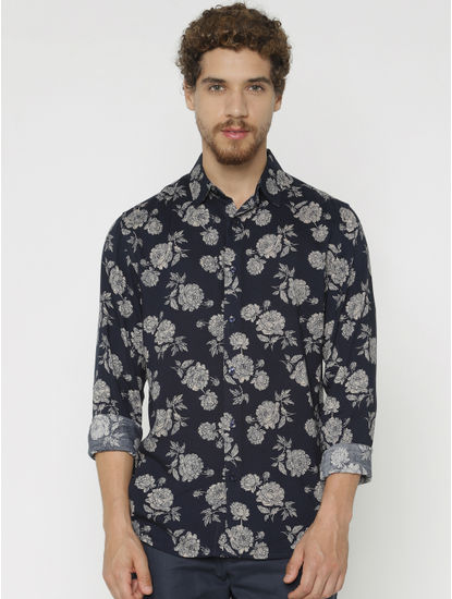 Blue All Over Print Slim Fit Full Sleeves Shirt