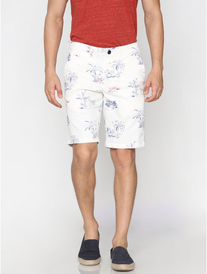 White All Over Print Chino Shorts