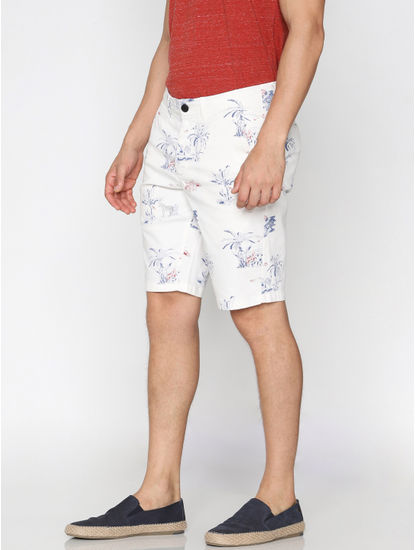 White All Over Print Chino Shorts