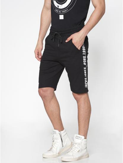 Black Side Text Stripe Print Drawstring Shorts
