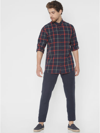 Navy Blue Check Slim Fit Full Sleeves Shirt