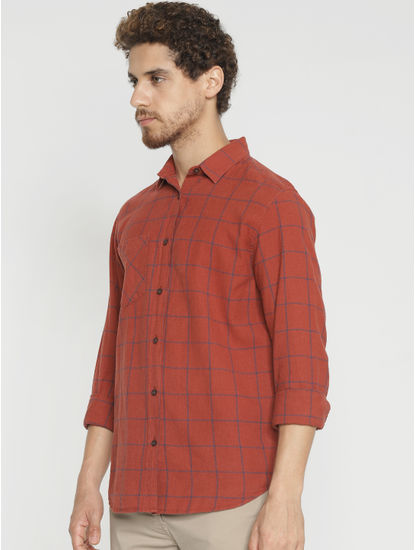 Red Check Slim Fit Full Sleeves Shirt