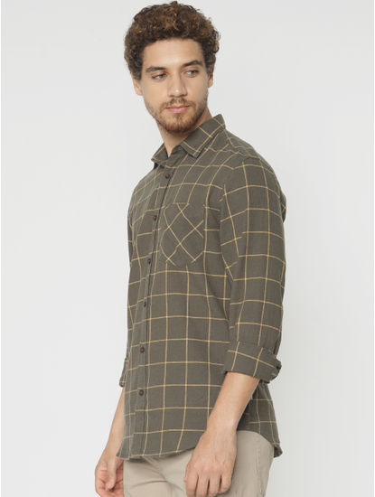 Green Check Slim Fit Full Sleeves Shirt