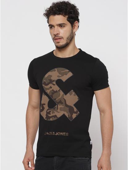 Black Camo Graphic Print T-Shirt