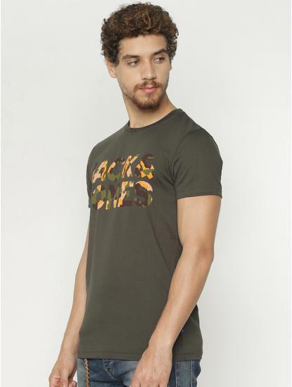 Green Camo Text Print Crew Neck T-Shirt
