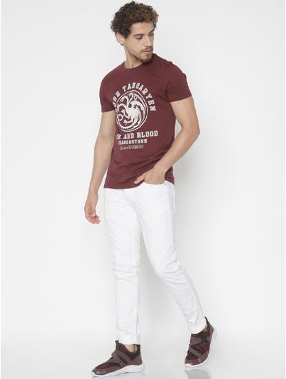 X Got Burgundy House Targaryen Crew Neck T-Shirt