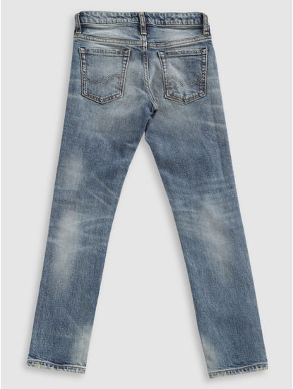 Junior Blue Mildly Ripped Slim Fit Jeans